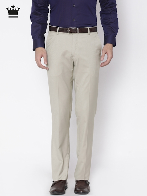 Louis Philippe Men Beige Regular Fit Self Design Formal Trousers