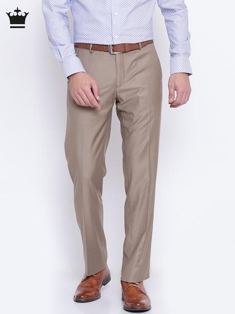 Louis Philippe Men Beige Ultra Regular Fit Solid Formal Trousers