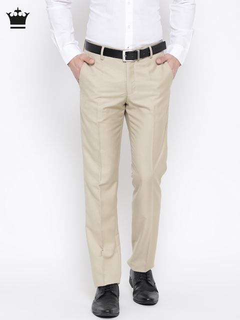 Louis Philippe Men Beige Self-Design Formal Trousers