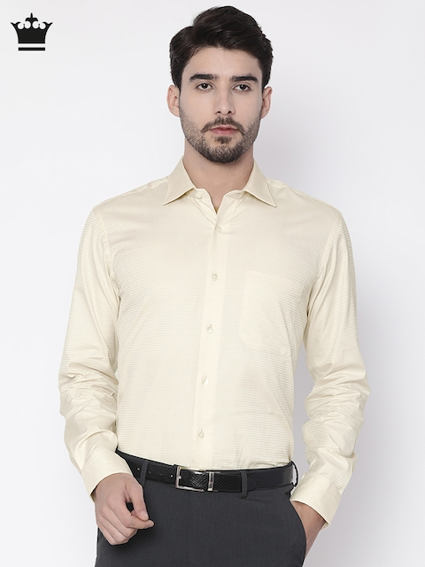 Louis Philippe Men Beige Regular Fit Self Design Formal Shirt