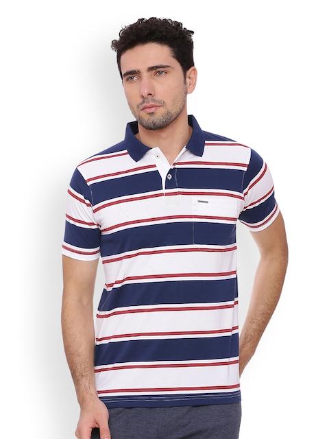 Proline Men Blue Striped Polo Collar T-shirt