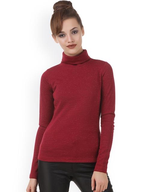 Texco Women Maroon Solid Sweatshirt