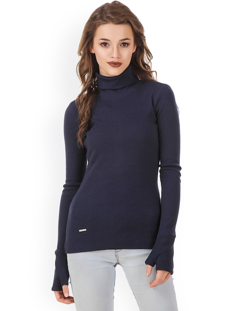 Texco Women Navy Blue Solid Sweatshirt