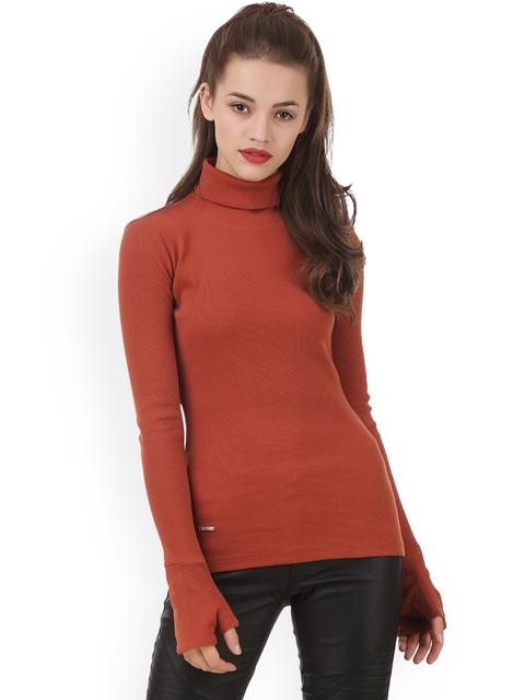 Texco Women Rust Solid Sweatshirt