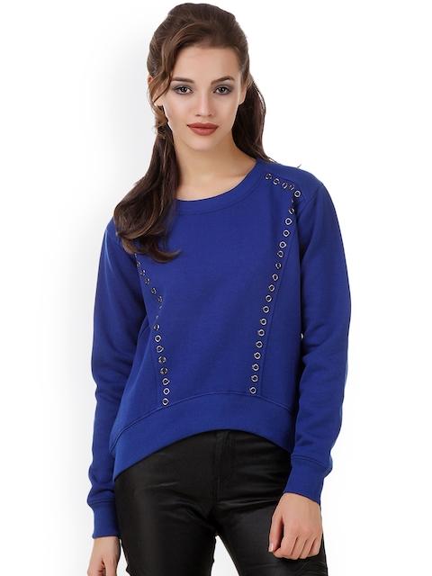 Texco Women Blue Solid Sweatshirt