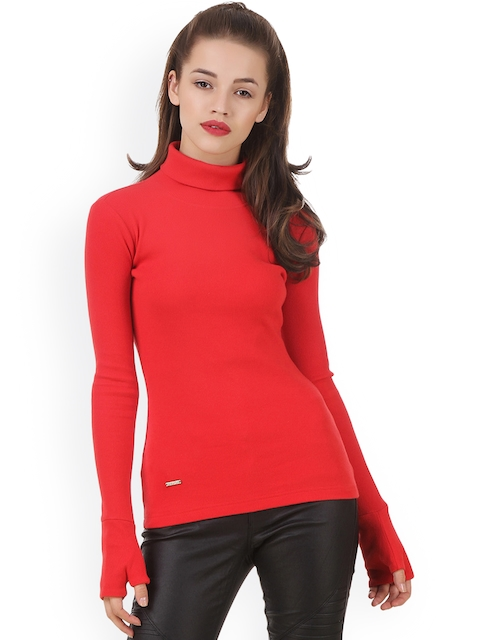 Texco Women Red Solid Sweatshirt