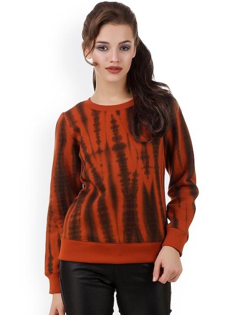 Texco Women Rust Printed Sweatshirt