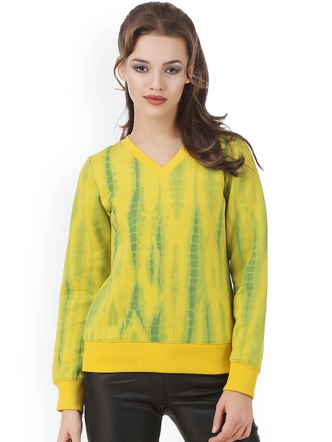 Texco Women Yellow & Green Printed Sweatshirt
