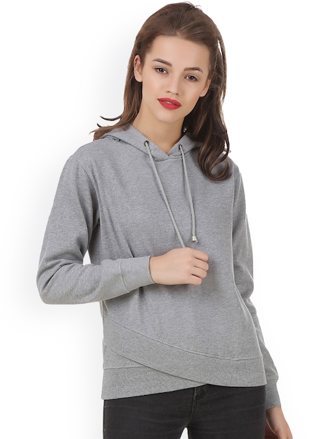 Texco Women Grey Solid Hooded Sweatshirt
