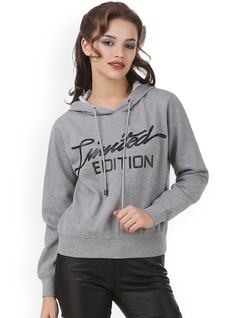 Texco Women Grey Printed Hooded Sweatshirt