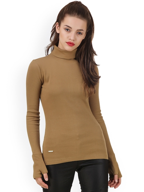 Texco Women Olive Green & Brown Solid Sweatshirt