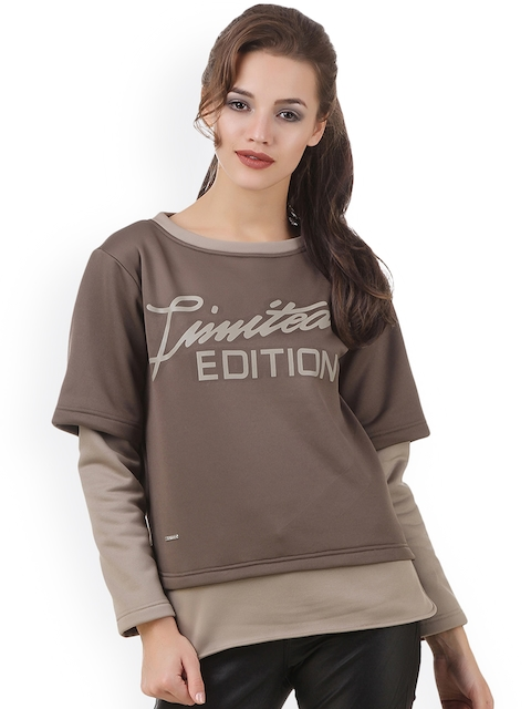 Texco Women Brown Printed Sweatshirt