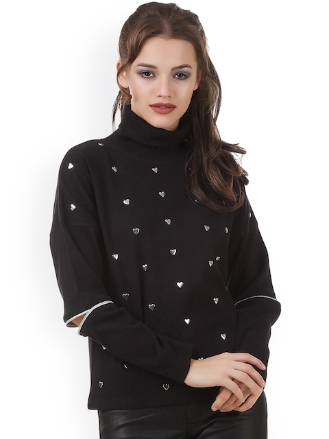 Texco Women Black Embellished Sweatshirt