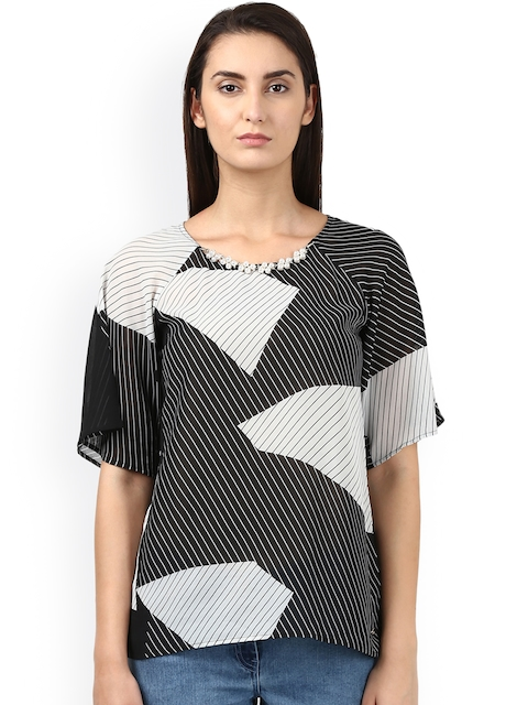 Park Avenue Woman Women Black Printed Top