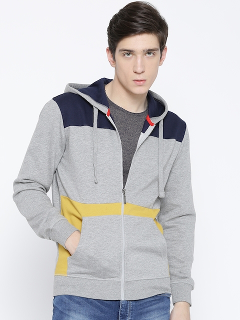 United Colors of Benetton Men Grey Melange Colourblocked Hooded Sweatshirt