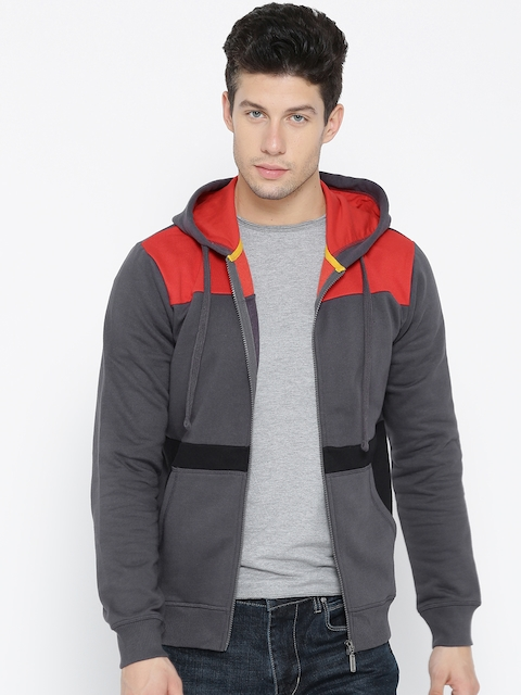 United Colors of Benetton Men Charcoal Grey & Red Colourblocked Hooded Sweatshirt