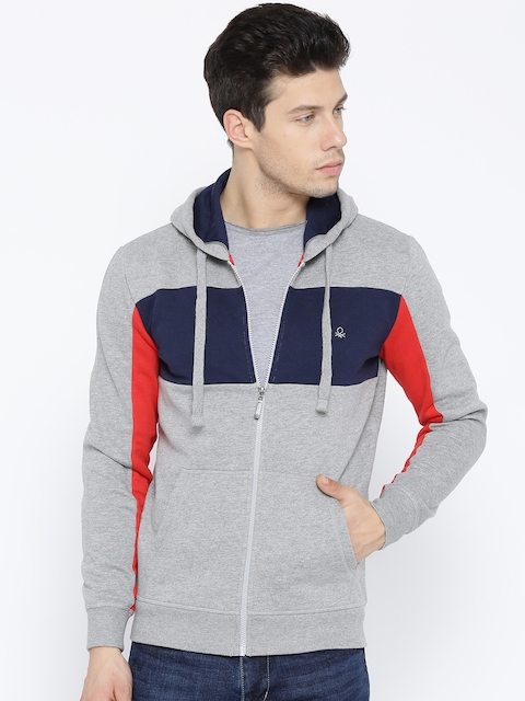 United Colors of Benetton Men Grey Melange & Navy Colourblocked Hooded Sweatshirt