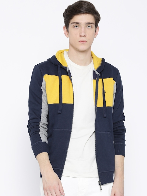 United Colors of Benetton Men Navy & Yellow Colourblocked Hooded Sweatshirt