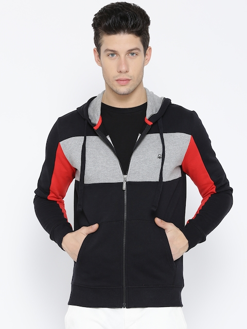 United Colors of Benetton Men Black & Grey Melange Colourblocked Hooded Sweatshirt