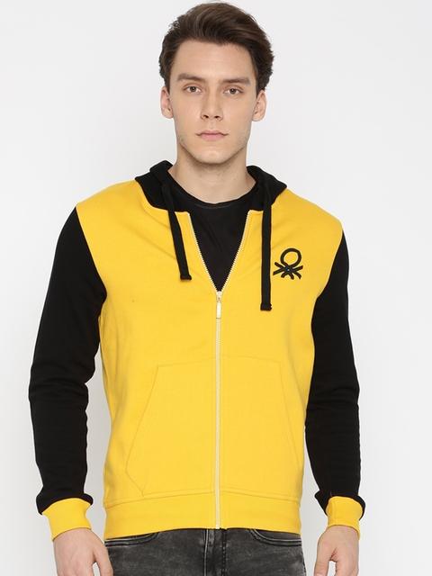 United Colors of Benetton Men Yellow & Black Solid Hooded Sweatshirt