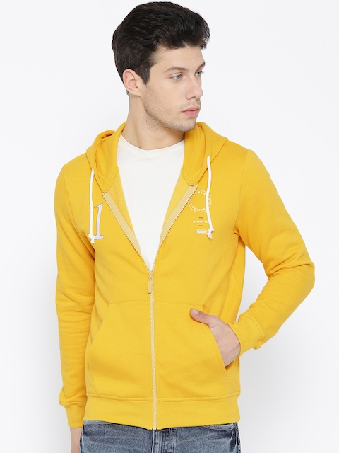 United Colors of Benetton Men Yellow Solid Hooded Sweatshirt