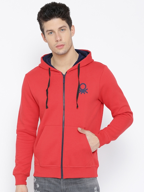 United Colors of Benetton Men Red Solid Hooded Sweatshirt