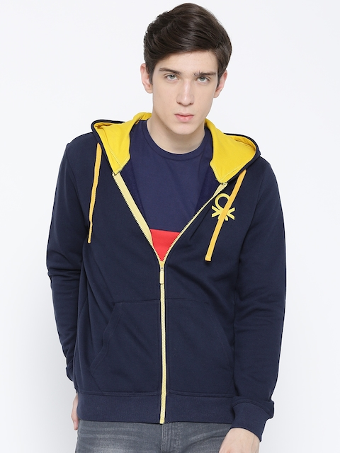 United Colors of Benetton Men Navy Blue Solid Hooded Sweatshirt