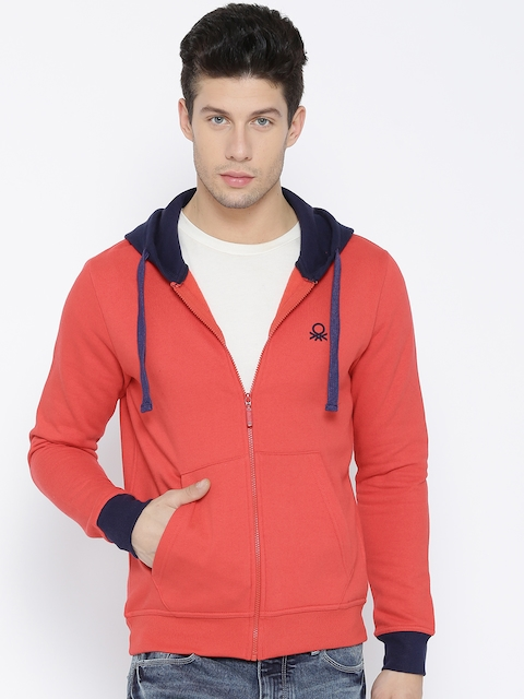 United Colors of Benetton Men Coral Red Solid Hooded Sweatshirt