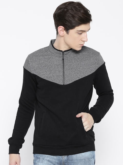 United Colors of Benetton Men Black & Grey Colourblocked Sweatshirt