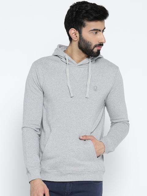 United Colors of Benetton Men Grey Melange Solid Hooded Sweatshirt