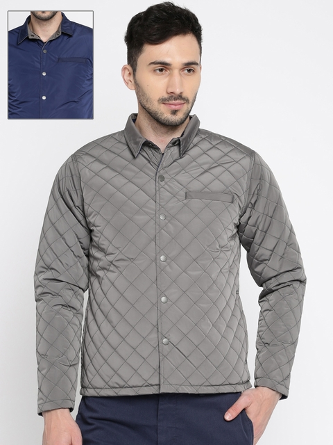 United Colors of Benetton Men Grey & Navy Solid Reversible Quilted Jacket