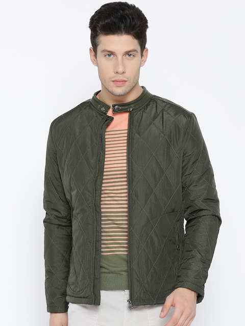 United Colors of Benetton Men Olive Green Solid Quilted Jacket