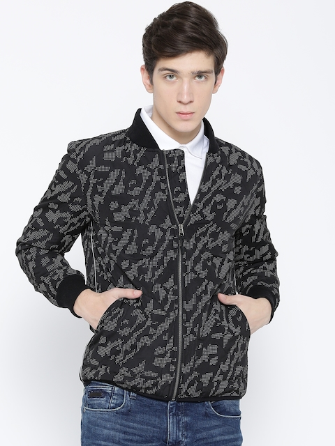 United Colors of Benetton Men Black & Grey Printed Tailored Jacket