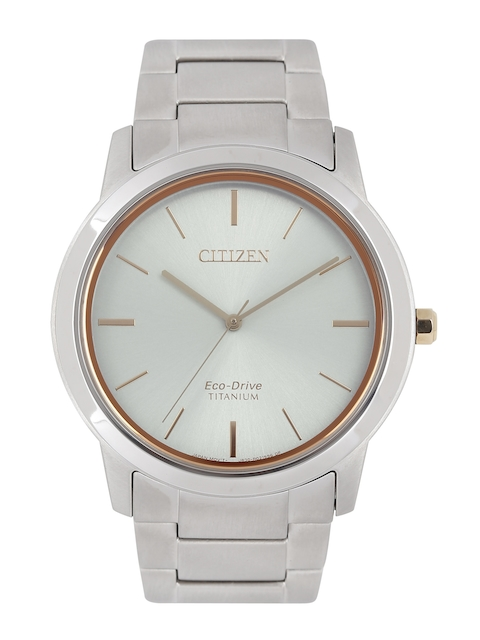 Citizen Men Silver-Toned Eco Drive Titanium Analogue Watch AW2024-81A