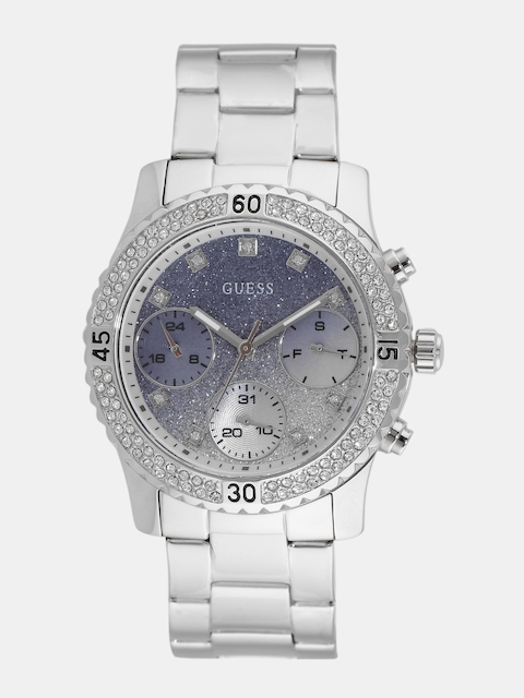 GUESS Women Blue & Silver-Toned Embellished Multifunction Watch W0774L6