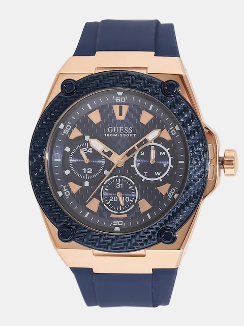 GUESS Men Navy Blue Multifunction Analogue Watch W1049G2