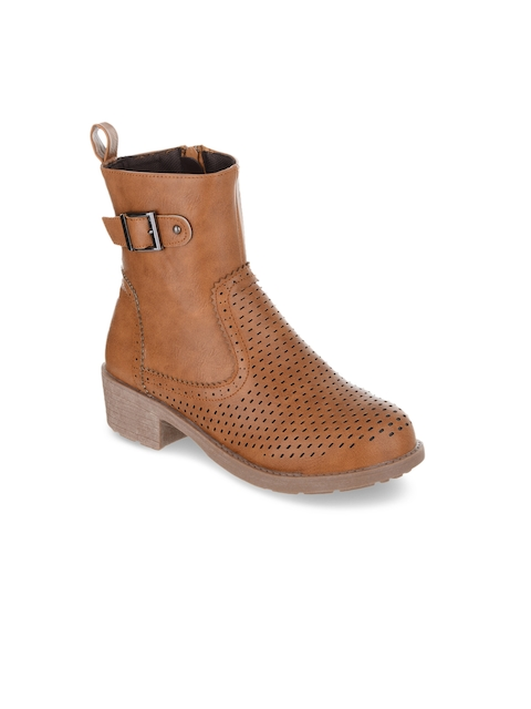 SHUZ TOUCH Women Tan Solid Synthetic High-Top Flat Boots