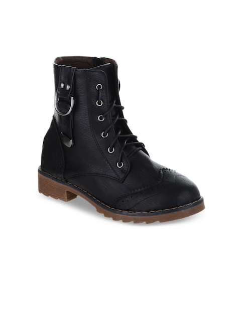 SHUZ TOUCH Women Black Solid Synthetic High-Top Flat Boots