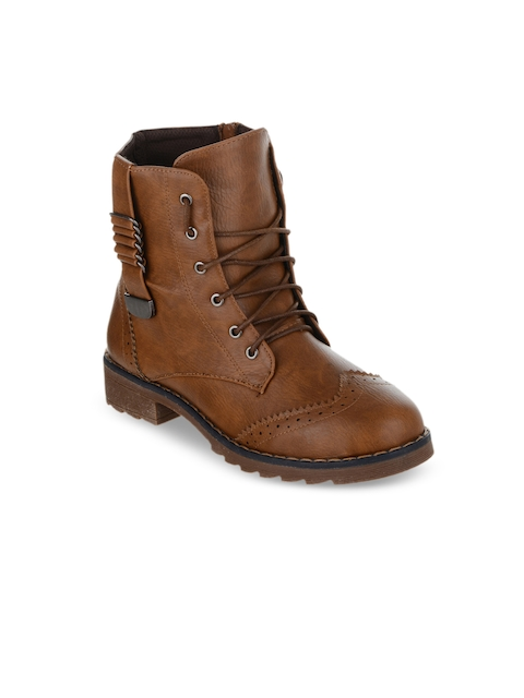 SHUZ TOUCH Women Brown Solid Synthetic High-Top Flat Boots