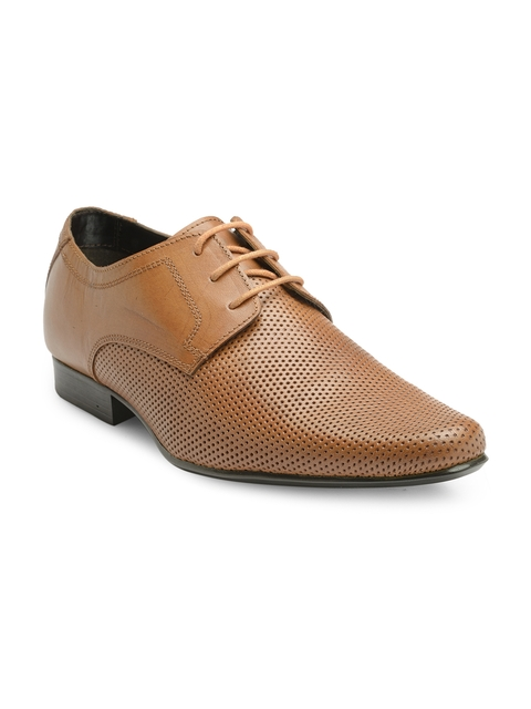 Franco Leone Men Tan Brown Formal Derby Shoes