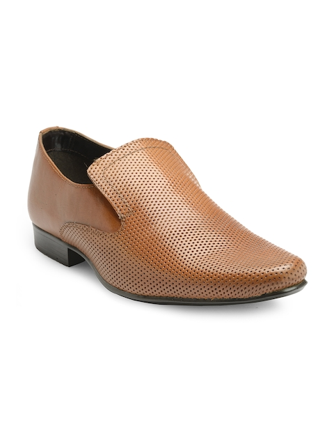 Franco Leone Men Tan Brown Formal Slip-Ons
