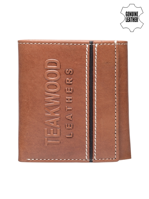 Teakwood Leathers Men Tan Solid Three Fold Wallet
