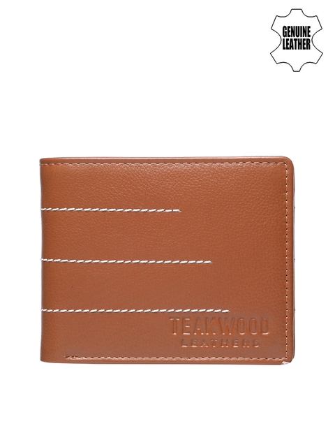 Teakwood Leathers Men Tan Solid Two Fold Wallet