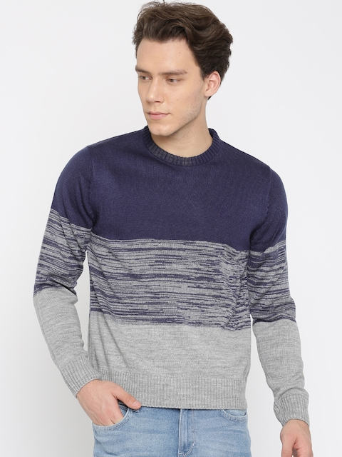 Lee Men Purple & Grey Melange Solid Pullover