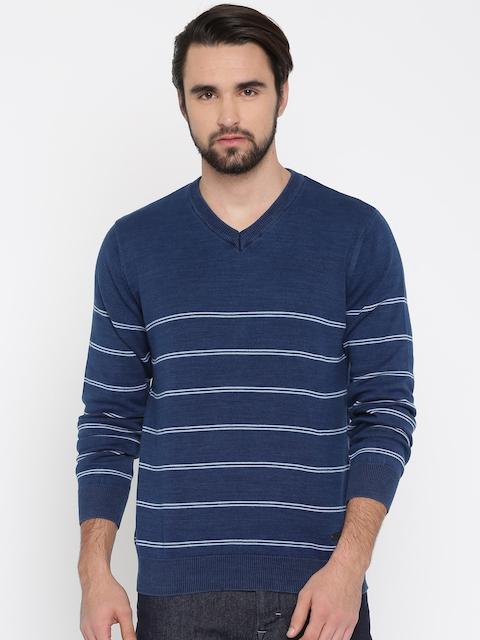 Lee Men Navy Blue Striped Pullover