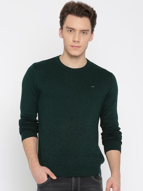 Lee Men Green Solid Pullover