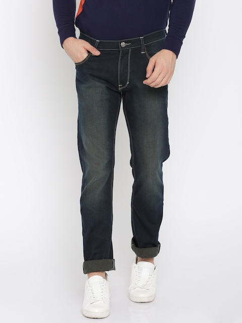 Lee Men Blue Powell Slim Fit Low-Rise Clean Look Stretchable Jeans
