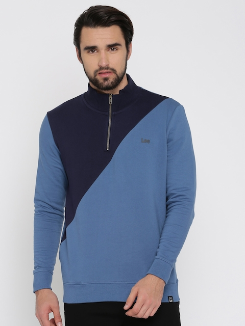 Lee Men Blue Colourblocked Sweatshirt