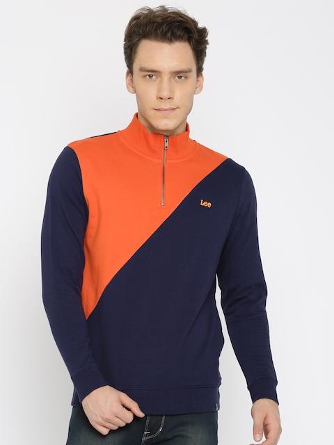 Lee Men Navy & Orange Colourblocked Sweatshirt