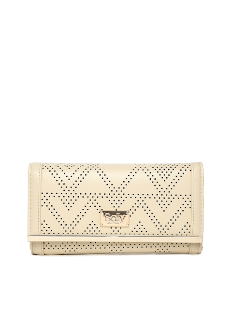 Allen Solly Women Beige Solid Two Fold Wallet with Cut-Out Detail